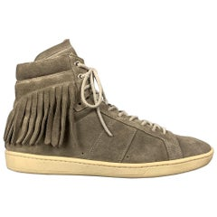 SAINT LAURENT Size 10 Grey Fringe Suede High Top Sneakers