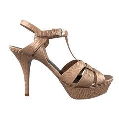 SAINT LAURENT Size 11 Taupe Textured Leather TRIBUTE Platform Sandals
