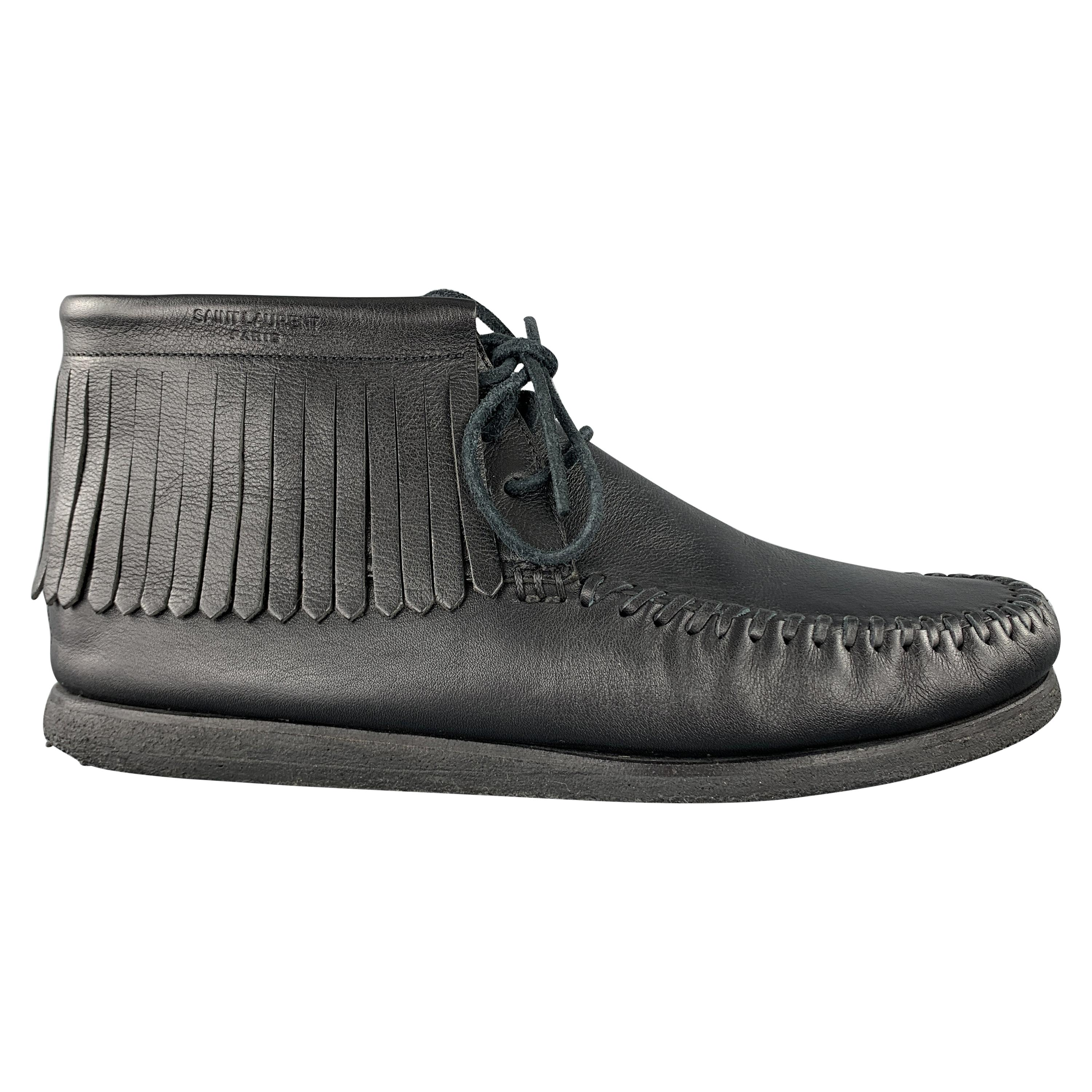 SAINT LAURENT Size 12 Black Leather Fringed Moccasin Style Boot Sneakers