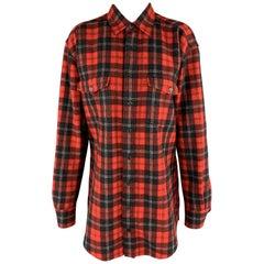 SAINT LAURENT Size 4 Red Plaid Wool Oversized Boyfriend Flannel Blouse