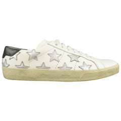 SAINT LAURENT Size 7 White Leather Silver Stars California SL 06 Sneakers