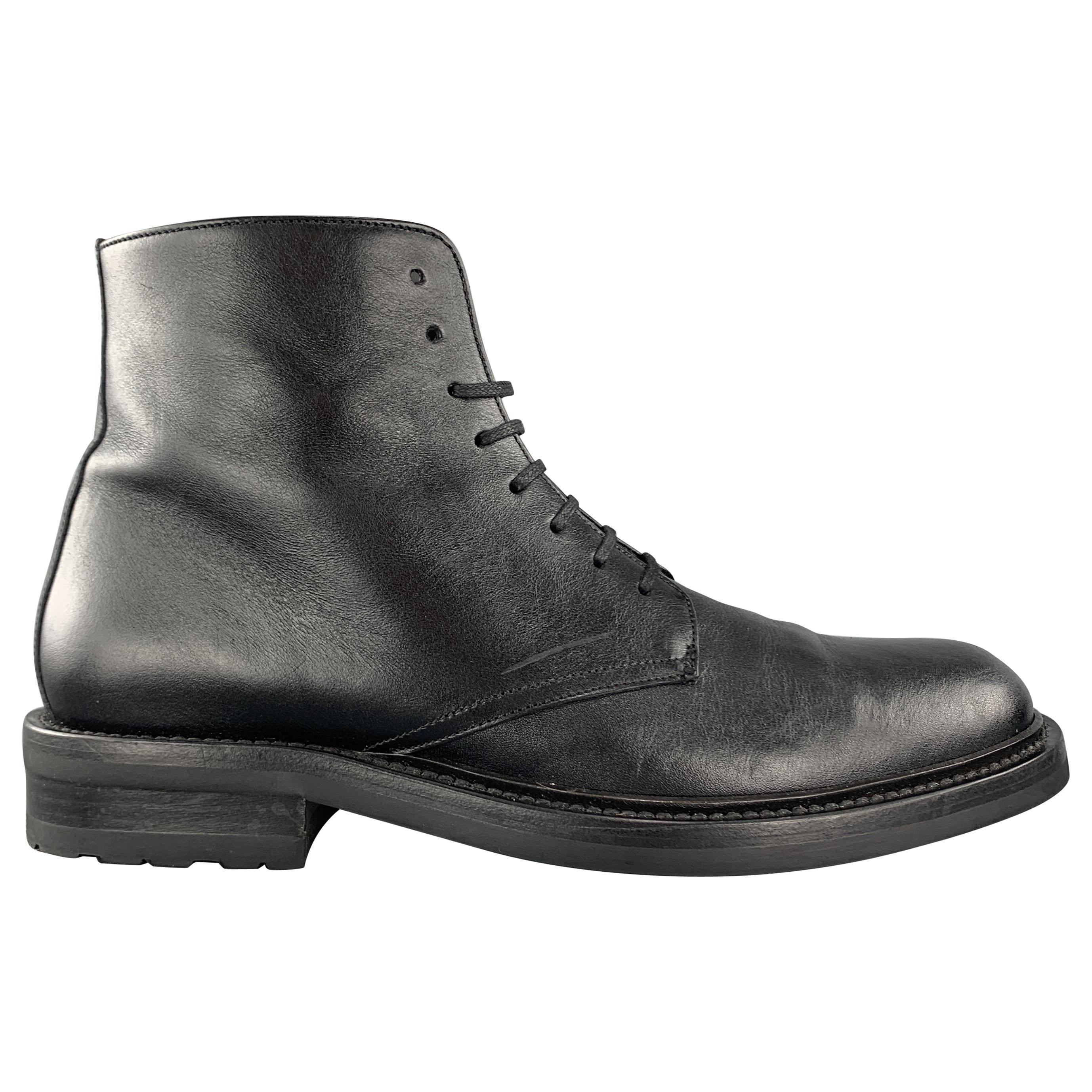 SAINT LAURENT Size 8 Black Leather ARMY 20 Ankle Boots