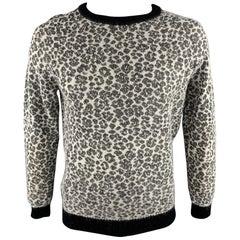 SAINT LAURENT Size L Black & White Leopard Print Mohair Blend Crew-Neck Sweater