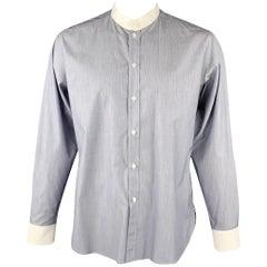 SAINT LAURENT Size L Navy & White Pinstripe Cotton Long Sleeve Shirt