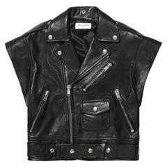 Saint Laurent Sleeveless Leather Biker Jacket