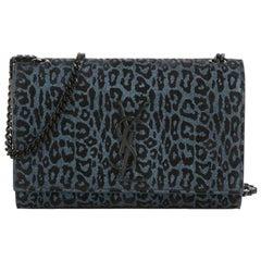 Saint Laurent Kate Monogram Small Blue Leopard Print Bowie Bag