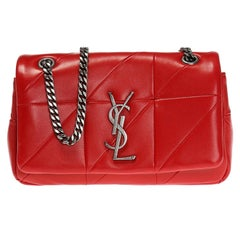 """Saint Laurent Small Red Soft Leather """"Jamie"""" Bag with Silver-Tone Hardware"""