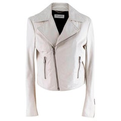 Saint Laurent Soft Lambskin Off-White Biker Jacket - Size US 6