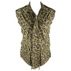 SAINT LAURENT Spring 2016 Size 10 Olive & Black Cotton Vest