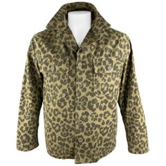 SAINT LAURENT Spring 2016 Size 40 Olive & Black Leopard Print Cotton Jacket