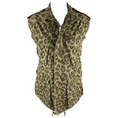 SAINT LAURENT Spring 2016 Size 6 Olive & Black Cotton Vest