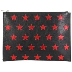 Saint Laurent Stars Zip Pouch Leather Medium