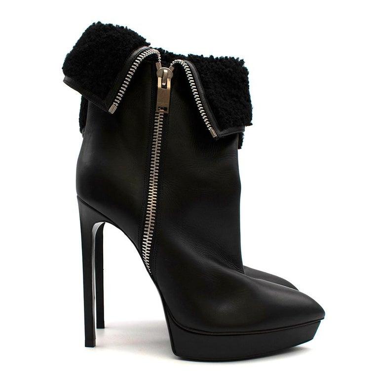 Black Saint Laurent Stiletto Shearling Lined Platform Boots 39 For Sale