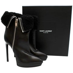 Saint Laurent Stiletto Shearling Lined Platform Boots 39