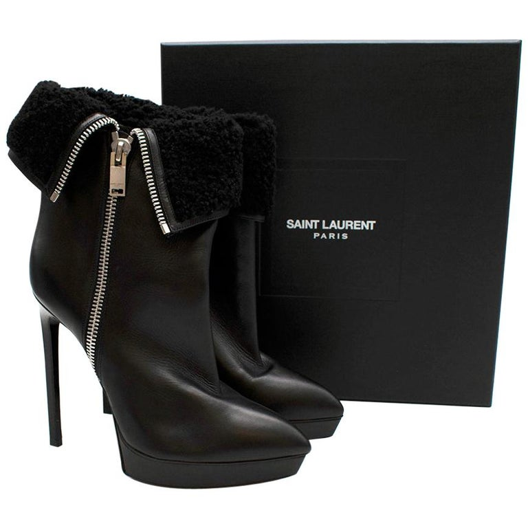 Saint Laurent Stiletto Shearling Lined Platform Boots 39 For Sale