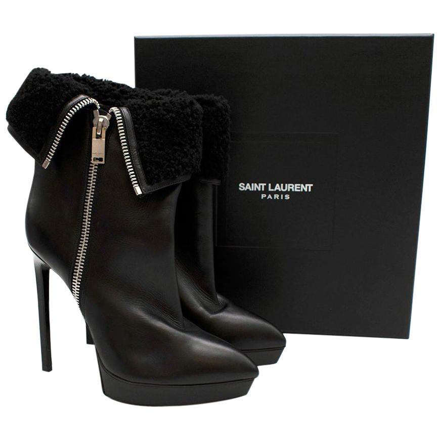Saint Laurent Stiletto Shearling Lined Platform Boots - Size EU 39