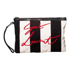 Saint Laurent Stripped Embroidered Red Logo Pouch (580866)