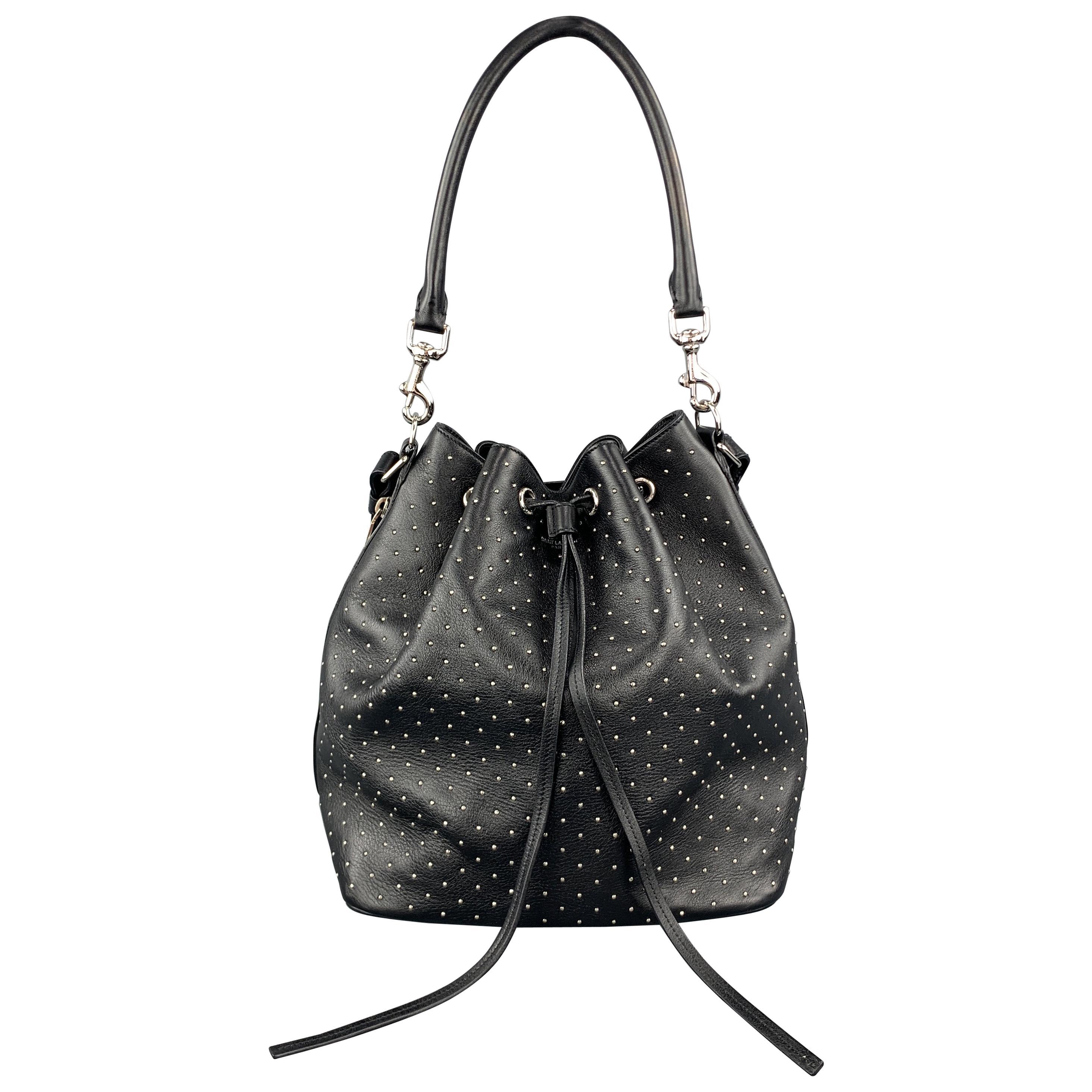 SAINT LAURENT Studded Black Leather Emmanuelle Bucket Bag