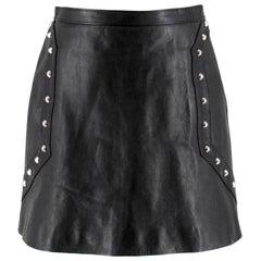 Saint Laurent studded leather mini skirt FR 40