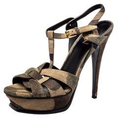 Saint Laurent Suede Camouflage Tribute Sandals Size 39