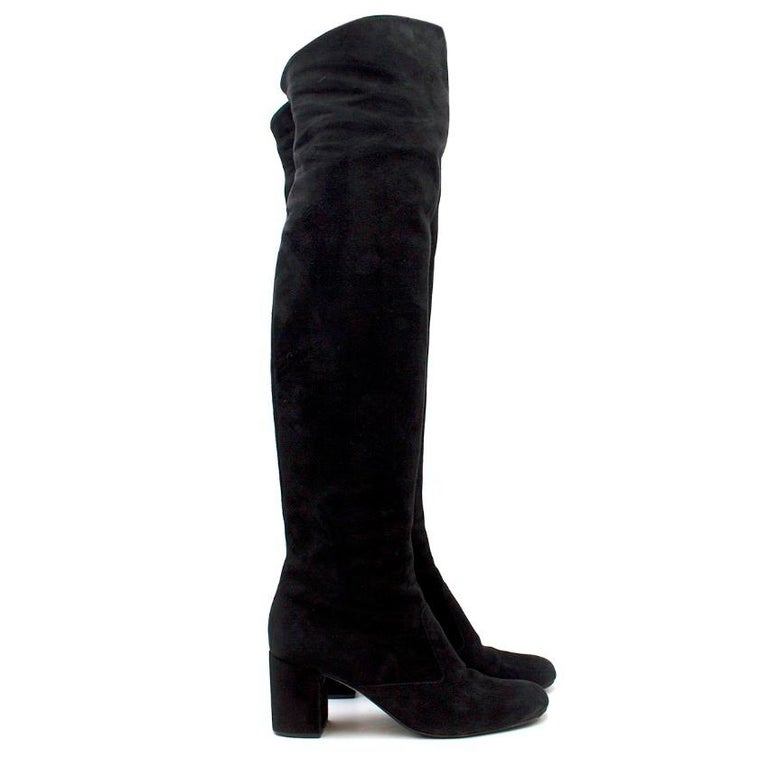 Saint Laurent Suede Long Heeled Boots  - Black suede - Over knee length - Closed round toe - Suede block heel - Inner zip fastening - Comes with dust bag  Please note, these items are pre-owned and may show some signs of storage, even when unworn