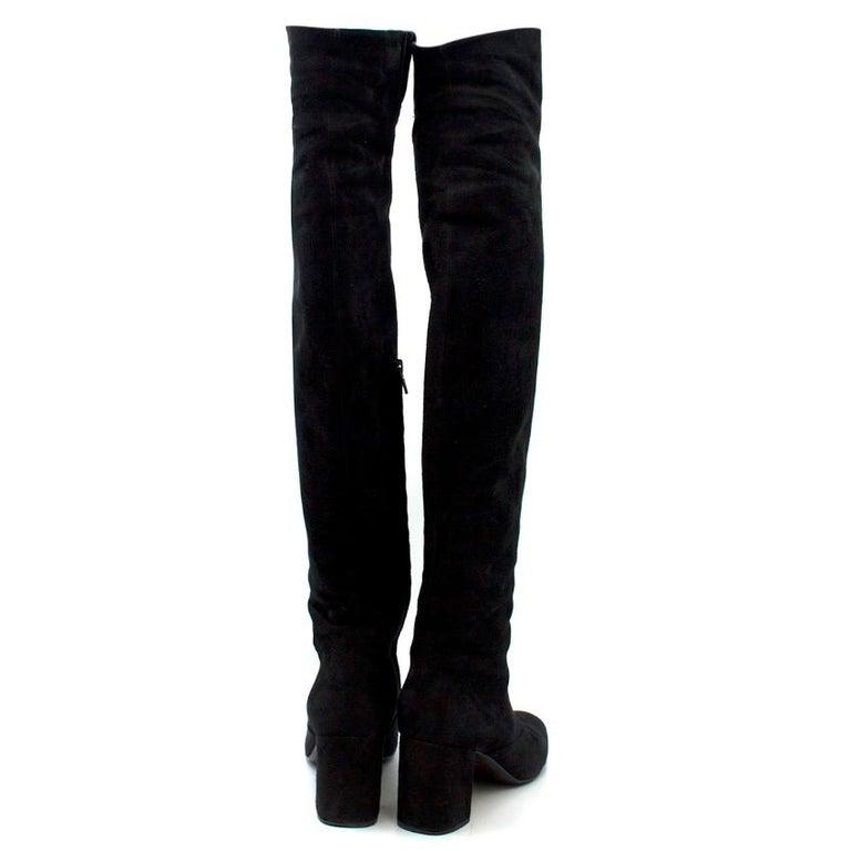 Black Saint Laurent Suede Long Heeled Boots US 8 For Sale