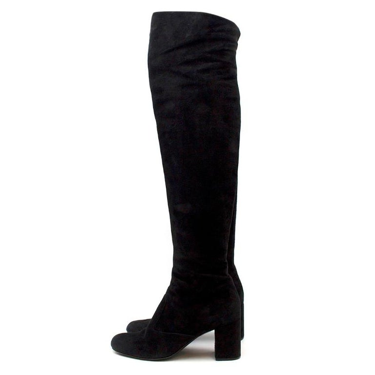 Saint Laurent Suede Long Heeled Boots US 8 In Good Condition For Sale In London, GB