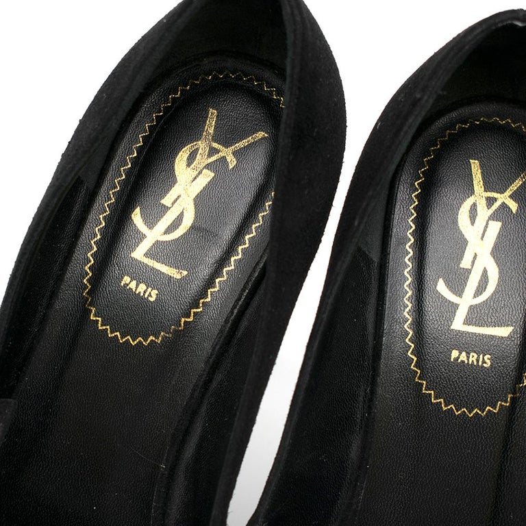 Saint Laurent Suede Mary Jane Pumps SIZE 38 For Sale 2