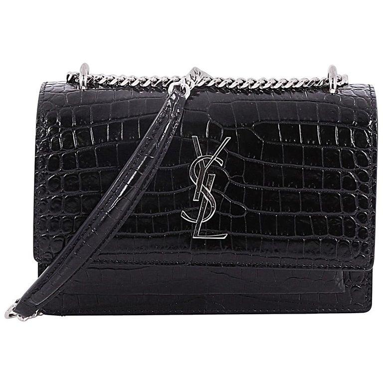 Saint Laurent Sunset Chain Wallet Crocodile Embossed Leather at 1stdibs d5c332cc7cc4b