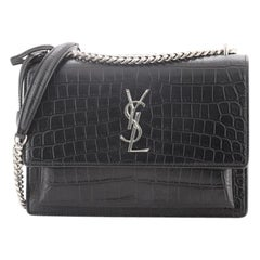 Saint Laurent Sunset Crossbody Bag Crocodile Embossed Leather Medium
