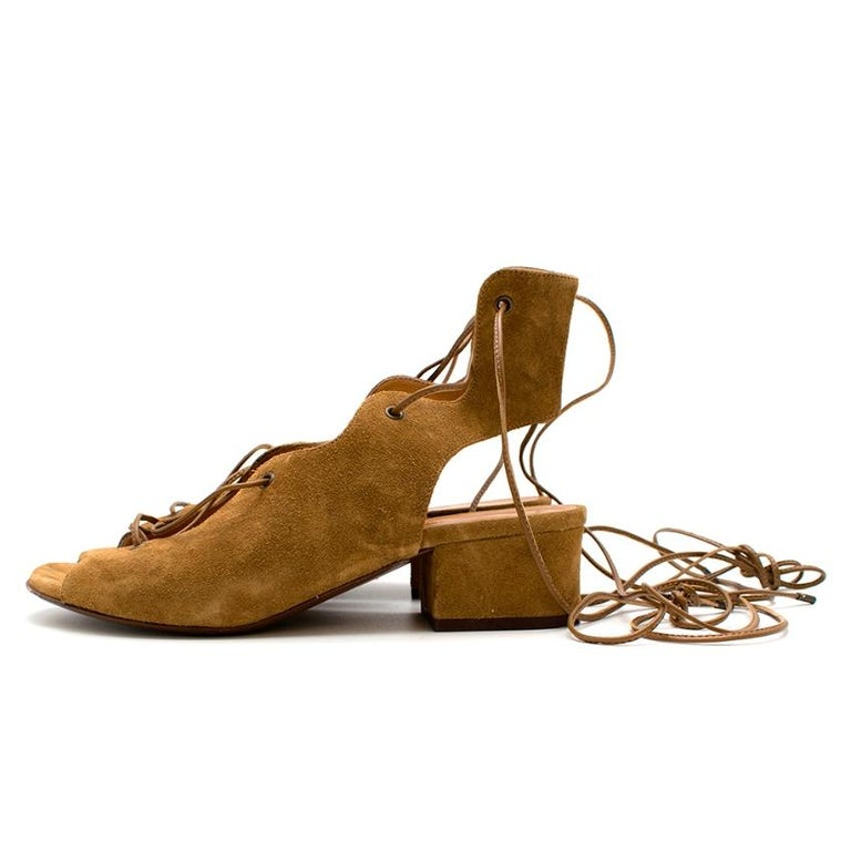 Saint Laurent Tan Lace-Up Seude Sandals 36 In Excellent Condition For Sale In London, GB