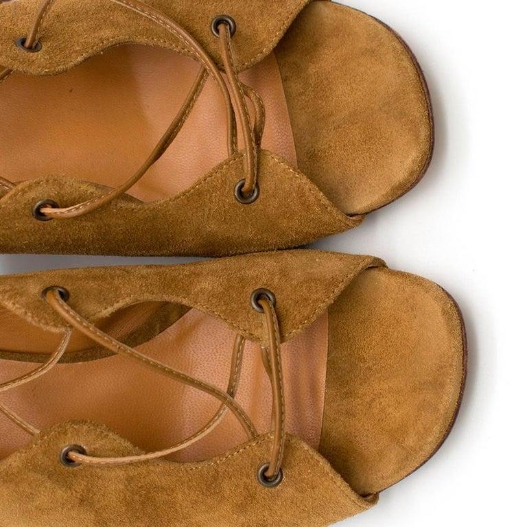 Women's Saint Laurent Tan Lace-Up Seude Sandals 36 For Sale