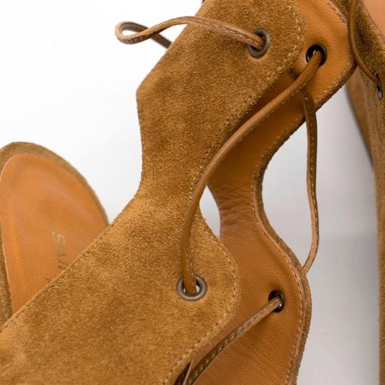 Saint Laurent Tan Lace-Up Seude Sandals 36 For Sale 1