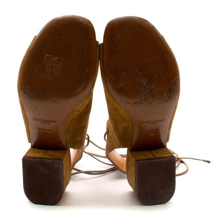 Saint Laurent Tan Lace-Up Seude Sandals 36 For Sale 3