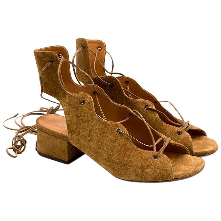 Saint Laurent Tan Lace-Up Seude Sandals 36 For Sale