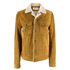 Saint Laurent Tan Shearling Lined Suede Jacket	SIZE 44