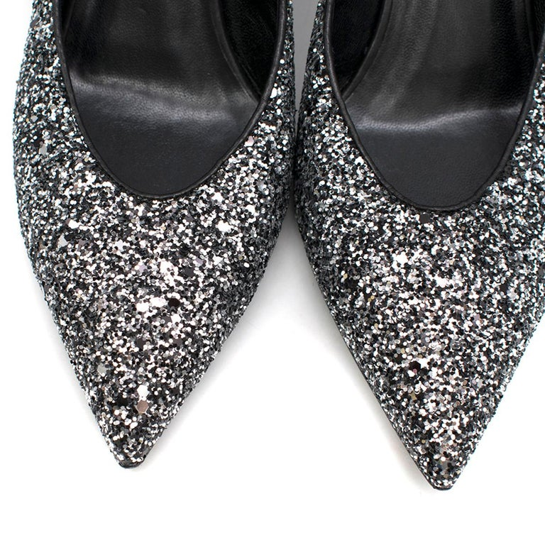 Saint Laurent Tara 55 Black Glitter Kitten Heel Pumps 41 1