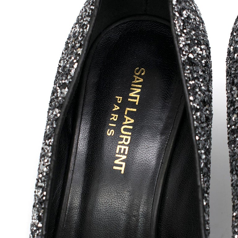 Saint Laurent Tara 55 Black Glitter Kitten Heel Pumps 41 2