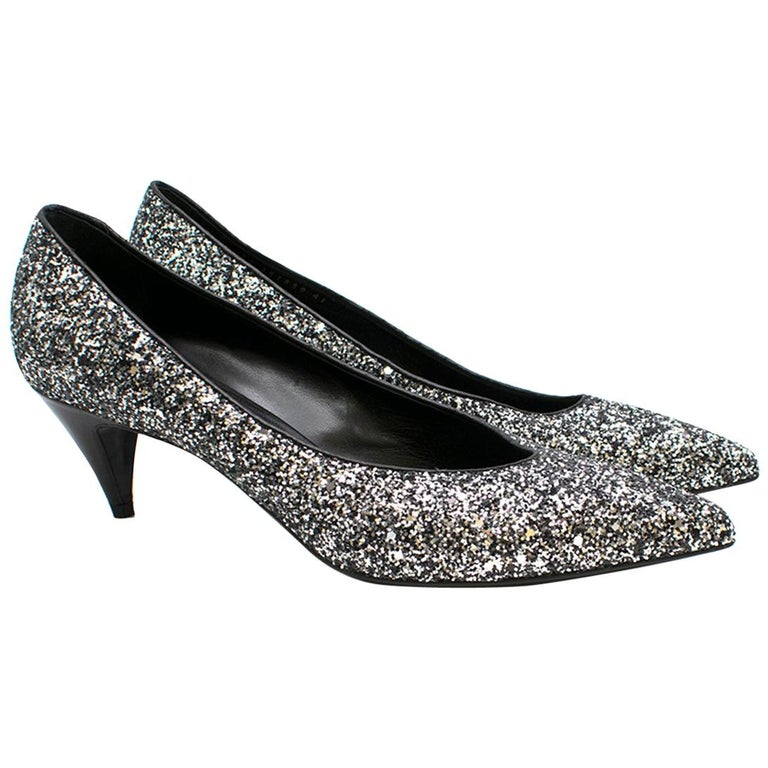 Saint Laurent Tara 55 Black Glitter Kitten Heel Pumps 41