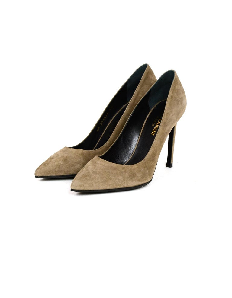 Saint Laurent Taupe Suede Point Toe Pumps sz 40  Made In: Paris Color: Taupe Materials: Suede Closure/Opening: Slide on Overall Condition: Excellent pre-owned condition, very minor wear to insoles    Marked Size: 40 Heel Height: 4
