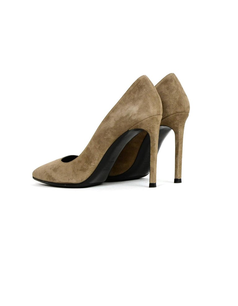 Brown Saint Laurent Taupe Suede Point Toe Pumps sz 40 For Sale