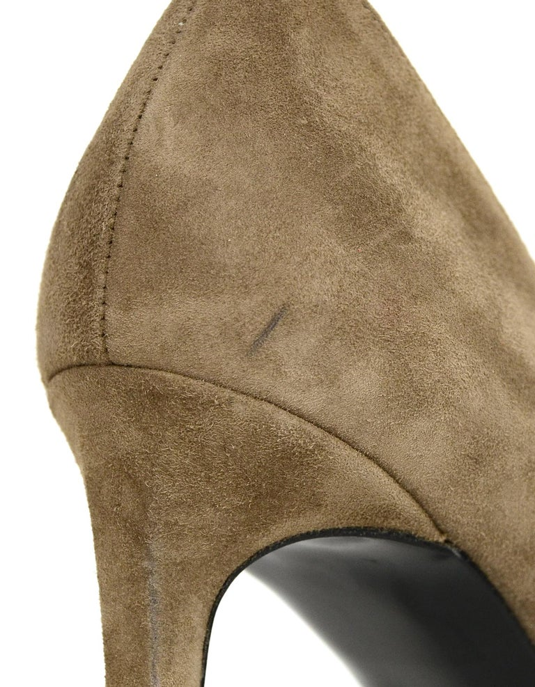 Saint Laurent Taupe Suede Point Toe Pumps sz 40 For Sale 1