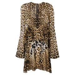 Saint Laurent Tiered Leopard Print Silk Chiffon Mini Dress