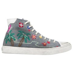 Saint Laurent Tropical-Embroidered High Top Bedford Distressed Sneakers SZ 38.5