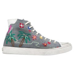 Saint Laurent Tropical-Embroidered High Top Bedford Distressed Sneakers SZ 39
