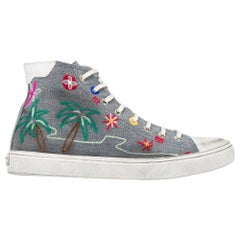 Saint Laurent Tropical-Embroidered High Top Bedford Distressed Sneakers SZ 40.5