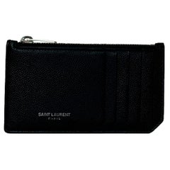 Saint Laurent Unisex Black Textured Leather Zip Top Card Holder rt. $295