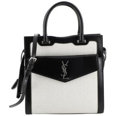 Saint Laurent Uptown Tote Canvas With Leather Small