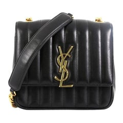Saint Laurent Vicky Crossbody Bag Vertical Quilted Leather Medium