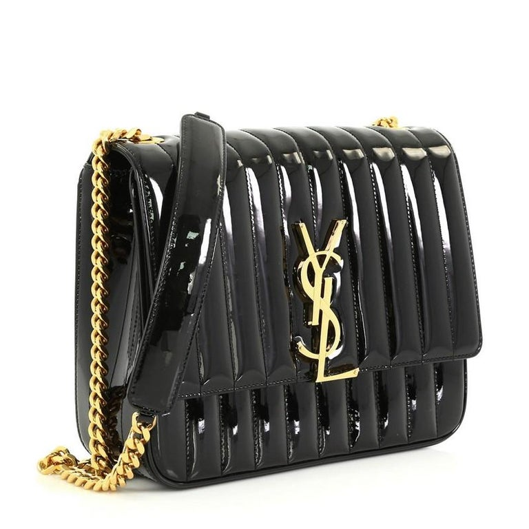 Saint Laurent Vicky Crossbody Bag Vertical Quilted Patent
